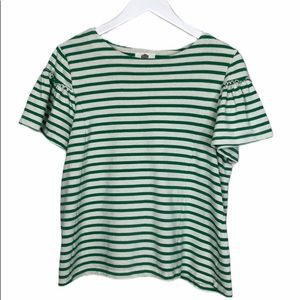 Anthropologie striped ruffle sleeve swing top